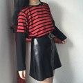 Mujeres Lolita Harajuku Cremallera Círculo Faldas Rojo Negro Girls Falda de Cuero Sintético