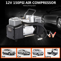 280W 150PSI Double Cyclinder Car Tire Tyre Inflator Air Pump Compressor DC 12V Higher Effective 3 Minutes Alarm Work Light