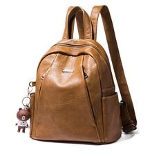 Women Backpack  School Backpacks For Girls Fashion Bear Pendant Soft Travel Teenager Bags Feminima Mochila New