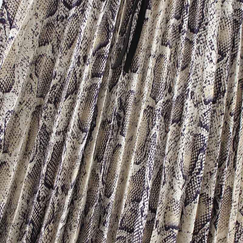 Vadim Women Stylish Snake Print Pleated Skirt Faldas Mujer Drawstring Tie Elastic Waist Ladies Casual Mid Calf Skirts Ba108 #4