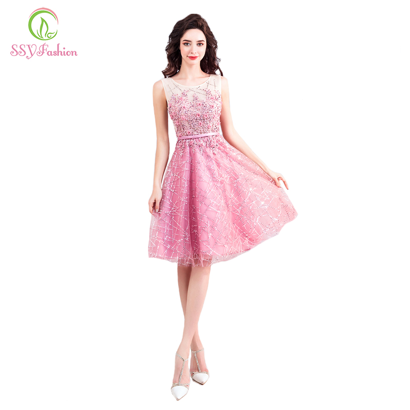 SSYFashion new sweet pink cocktail dress short sleeveless knee length lace flower appliques beading party gown