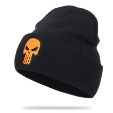 Autumn Winter Fashion Punishers Skull Embroidery Knitted Hat Men Women Beanies