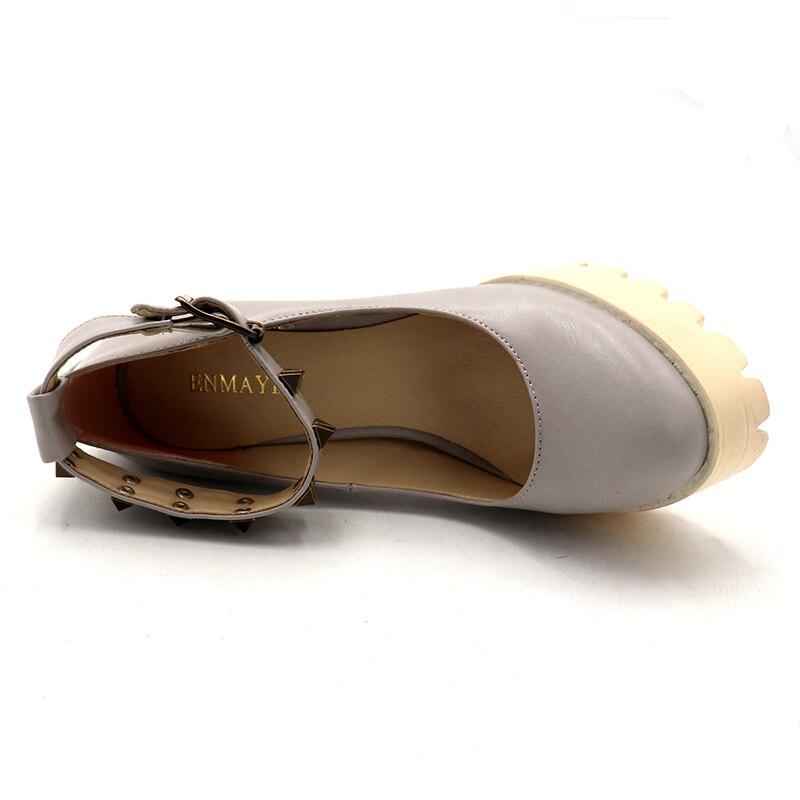 Femmes noir Rond light Tan À Sangle gris Talons Pour Hauts Pompes Chaussures 34 42 Grande Enmayer Semelles Beige Femme Compensées Taille Boucle Bout faxTgWw