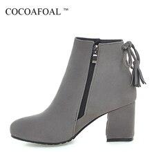 e42c5ed44ccac COCOAFOAL mujer franja gris Chelsea botas más tamaño 33 43 invierno zapatos  de tacón alto moda Sexy negro Beige Martin tobillo b.