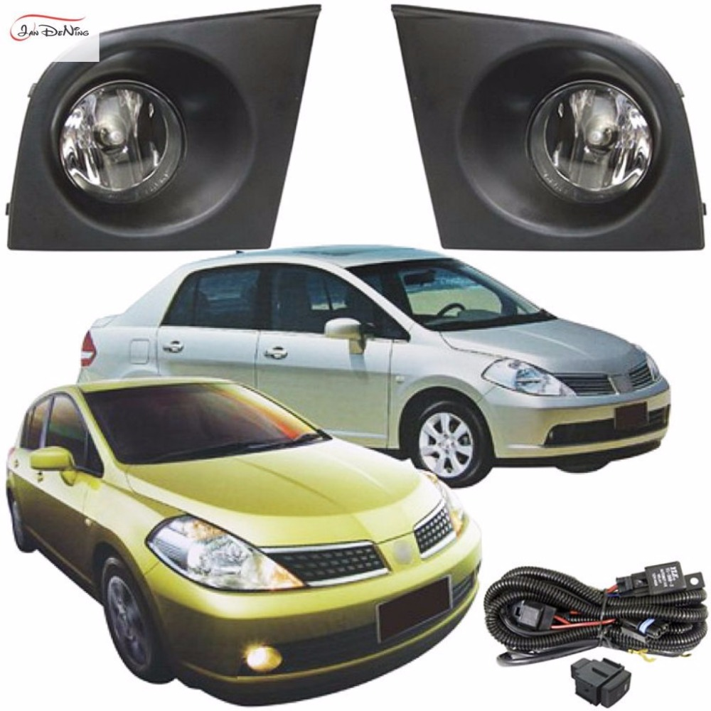 JanDeNing Car Fog Lights For NISSAN TIIDA/LATIO 2005~2008 Clear Front Bumper Fog Lamp Replace Assembly kit(one Pair) car accessories for nissan tiida latio 2005 2006 2007 2008 with wires harness switch fog light kits 12v 55w high power headlight