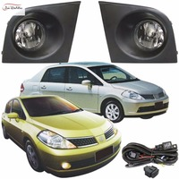 JanDeNing Car Fog Lights For NISSAN TIIDA/LATIO 2005~2008 Clear Front Bumper Fog Lamp Replace Assembly kit(one Pair)