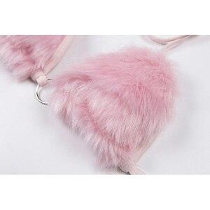 Image 5 - Puszyste futro różowy biustonosz krótki top seksowny festiwal Rave stanik kobiety do klubu na imprezę letnia plaża Backless biustonosz bandażowy Camis