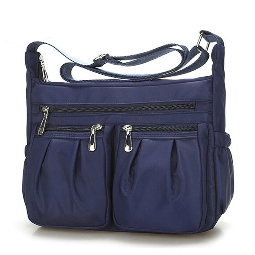 2018 новейшие модные женские нейлон раза сумка женская сплошной цвет молния водонепроницаемый сумки мешок отдыха # f
