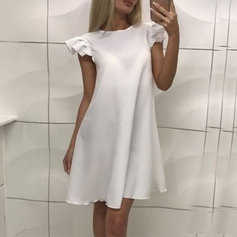 New New Arrival Simple Summer Dresses Women Sleeveless O-neck Mini Dress Casual Solid Loose Female Dress Vestidos Vestido
