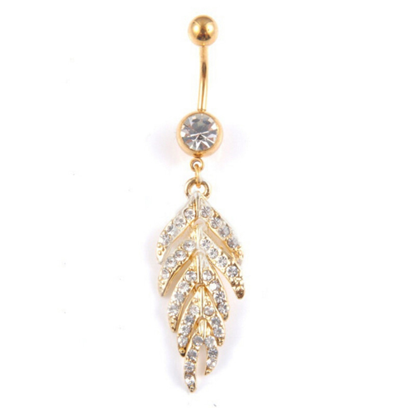 HTB1OoEfQFXXXXcGXVXXq6xXFXXXT Gold & Silver studded Leaf Feather Dangle Navel Stainless Belly Ring - 2 Colors