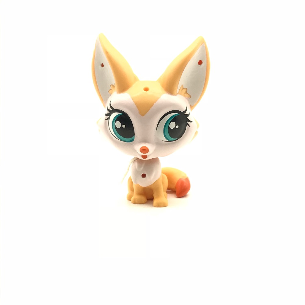 New Yellow Fox with Long Ears 1pcs Quality Cute Toys Lovely Pet Shop Animal Action Figure Littlest Doll Toys 496