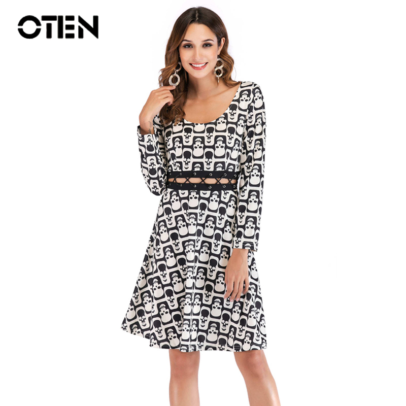 Oten Autumn Halloween Dress Women Sexy Long Sleeve O Neck Waist