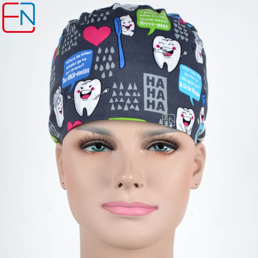 Hennar Men Adjustable Hospital Hat Women Black Print Surgical Medical Cap Nurse Hat Unisex Medical Accessories Scrub Caps Masks
