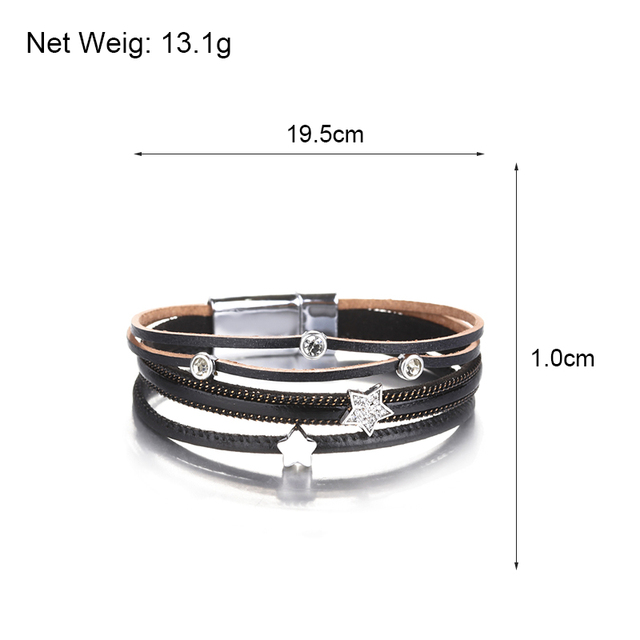 Black Leather Bracelet sizing dimensions