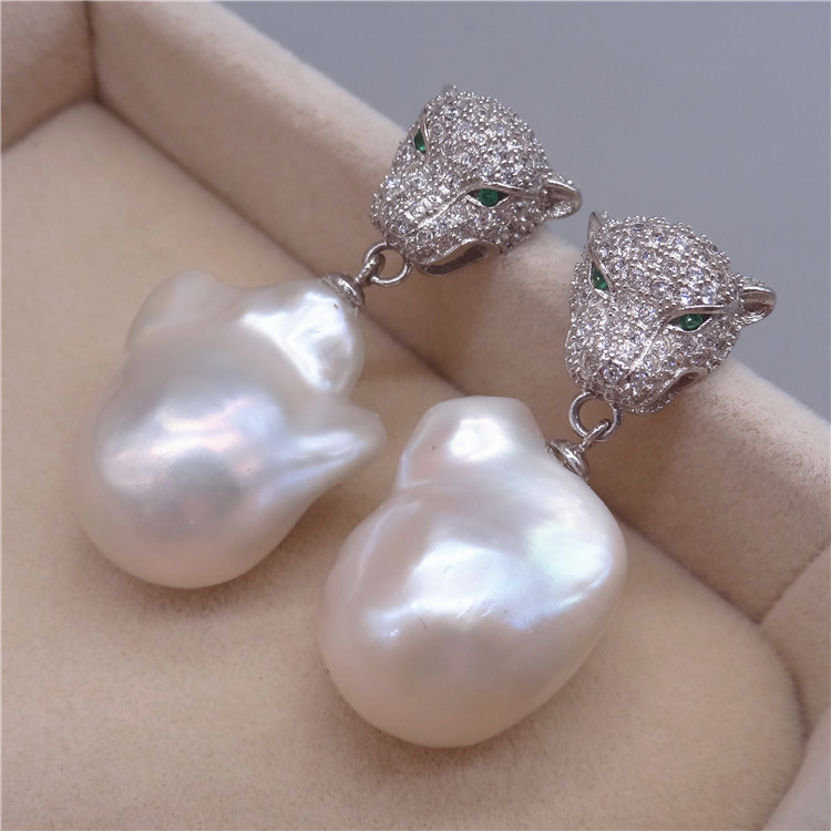 Free Shipping **Genuine Natural White Baroque Reborn Keshi pearl Leopard earring цена и фото