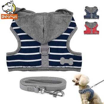Durable Cat Dog Harness Guinzaglio Set Maglia A Strisce Finimenti per Small Medium Cani Cucciolo di Yorkshire Fodere di Cotone di Riempimento