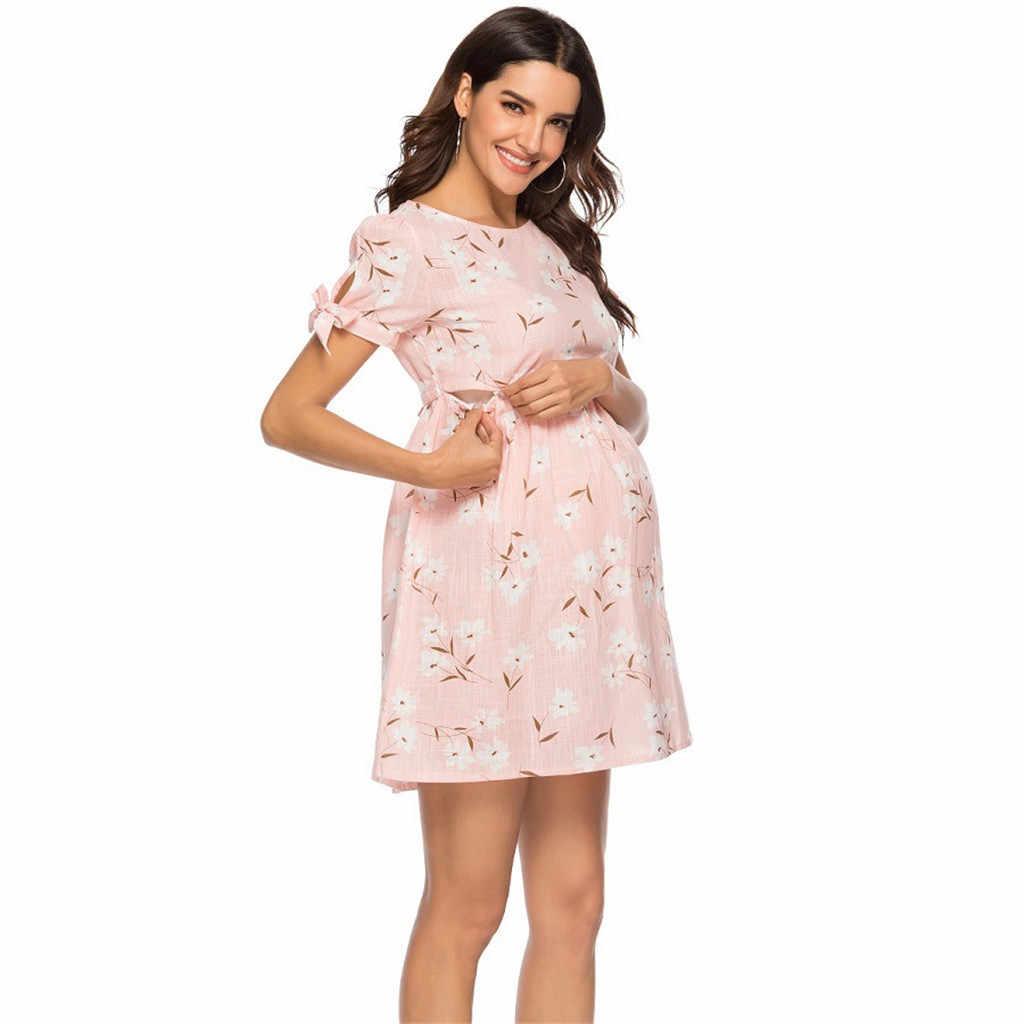 05e170146304c Women Maternity Cotton Blended Short Sleeve Floral Print Maternity Dress  ropa maternal vestidos maternidad abiti premaman 2019