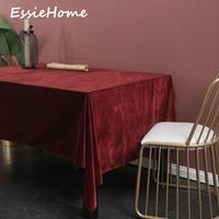 ESSIE HOME Wine Red Burgundy Single Side Matte Velvet High End Velvet Table Cloth Table Linen Wedding Decoration Placemat