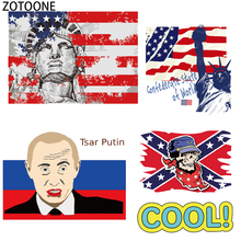 ZOTOONE Personality National Flag Iron on Patches Applique Funny Sticker Clothes Heat Transfer Washable Applications Stickers