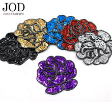 JOD Sequined Bead Brand Rose Flower Cloth Patches Iron on Embroidered Patch sewing Decorative Applique Bag Stickers on Cloth(China)