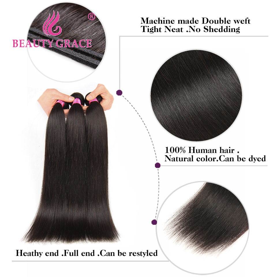 Beauty Grace Straight Peruvian Hair Bundles With Closure 4 * 4 - Mänskligt hår (svart) - Foto 4
