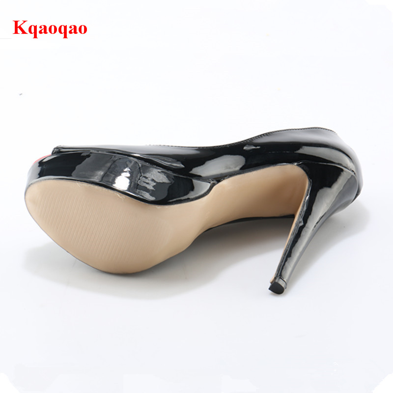 0778eeae6 Black Patent Leather Red Peep Toe Sexy Pumps Platform Stiltto Mixed Color  14CM High Heels Dress Party Wedding Ladies Shoes Woman-in Women's Pumps  from Shoes ...