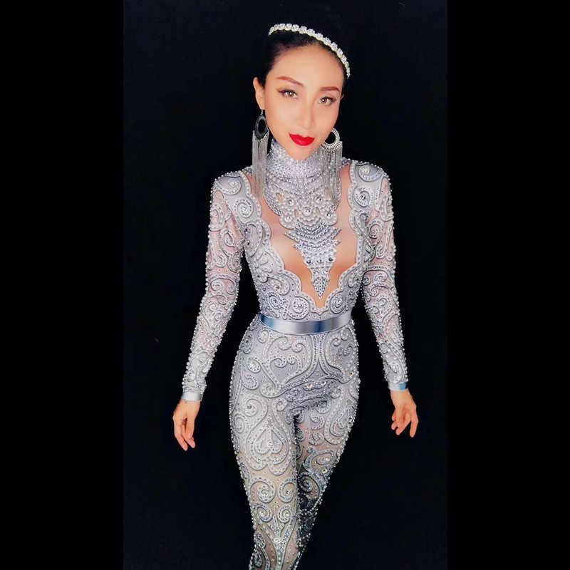 Christia Bella пикантные хрустальные комбинезоны Серебро боди со стразами Для женщин узкие купальник вечерние танцевальный костюм Сценические наряды