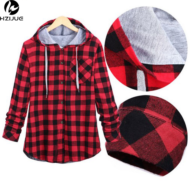 HZIJUE Women Casual Red Plaid Shirt Hooded Long Sleeve England Shirt Tops Men Harajuku Black Checkered Blouse Couple Clothes-in Casual Shirts from Men's Clothing