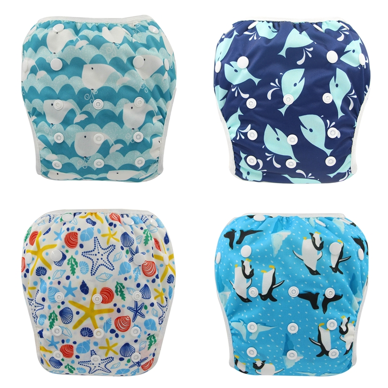 Ohbabyka Reusable Baby Diapers For Swimming Animal Print Underwear Waterproof Cloth Diaper Swim Pants Newborn Infant Swimwear