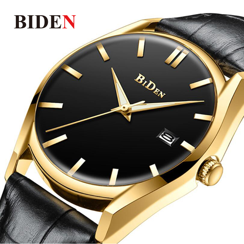 Gold Black Men Watch Top Luxury Brand Men's Quartz Watch Leather Creative Male Wrist Watch Display Date Clock Relogio Masculino цена 2017