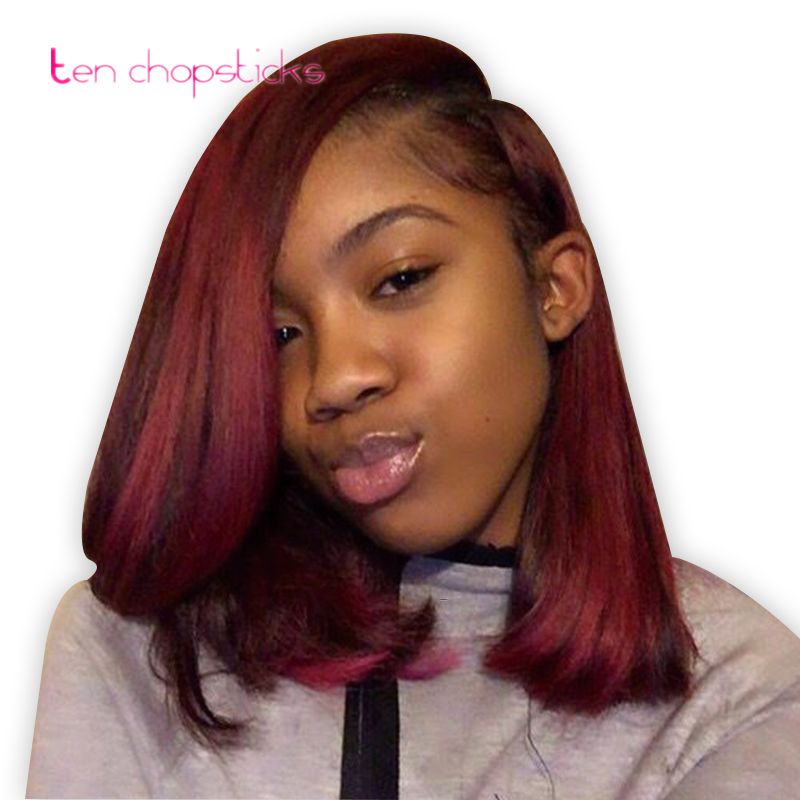 Sexy Short Bob Burgundy Full Lace Human Hair Wigs For