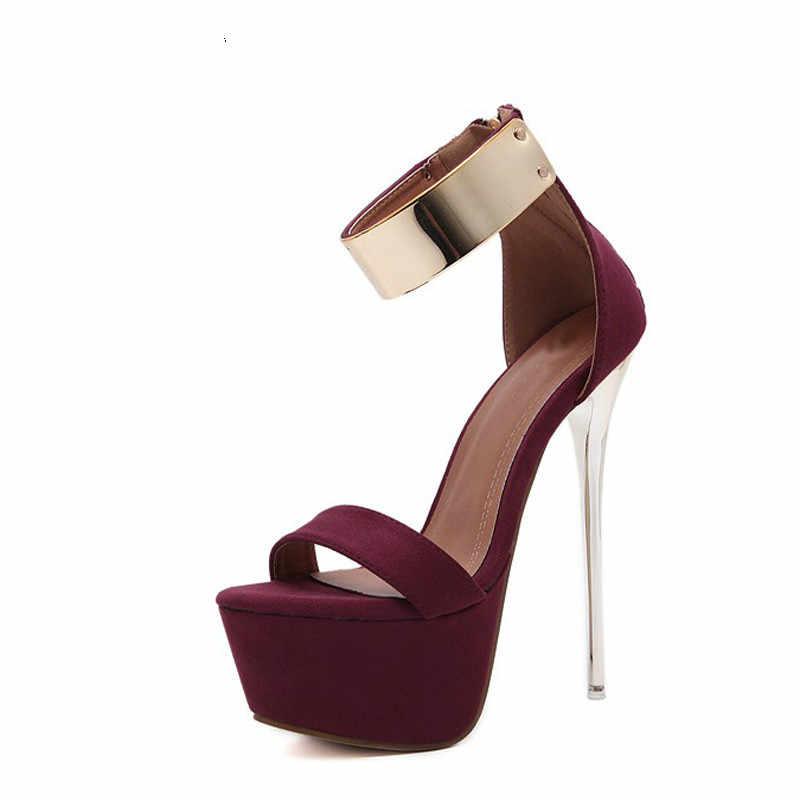 Yeni Kadın Sandalet 16 cm Ultra yüksek topuklu Yaz Platformu Pompaları Parti Kulübü ayakkabı Kadın Payetli Gladyatör Sandalet