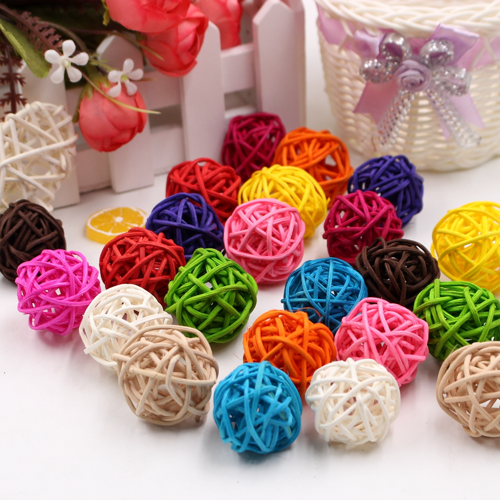 10Pcs/lot 3cm Artificial Straw Ball For Birthday Party Wedding Decoration Rattan ball Christmas Decor Home Ornament Supplies