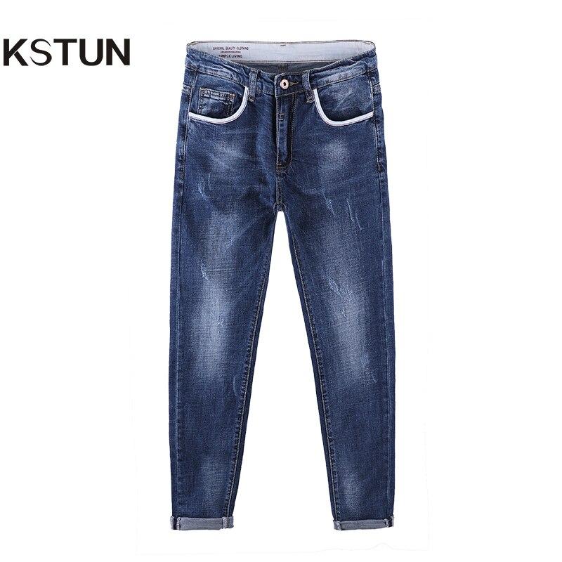 KSTUN Newly Jeans Men Fashion Pockets Design Slim Stretch Soft Cotton Denim Pants 3D Cut Long Trousers Yong Man Casual Ruched 36 economic newly design 2 4mx1 2mx3cm cheap gymnastic mats