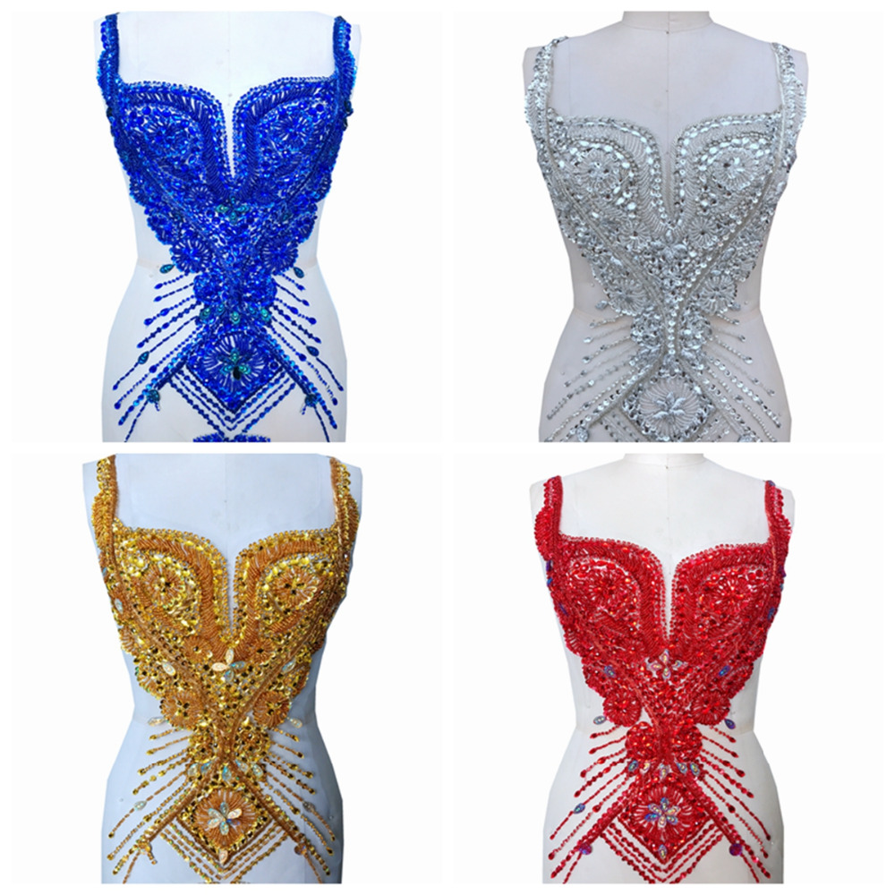 Handmade rhinestones patches applique sew on beads sequins trim patches 66*34cm for wedding dress accessory