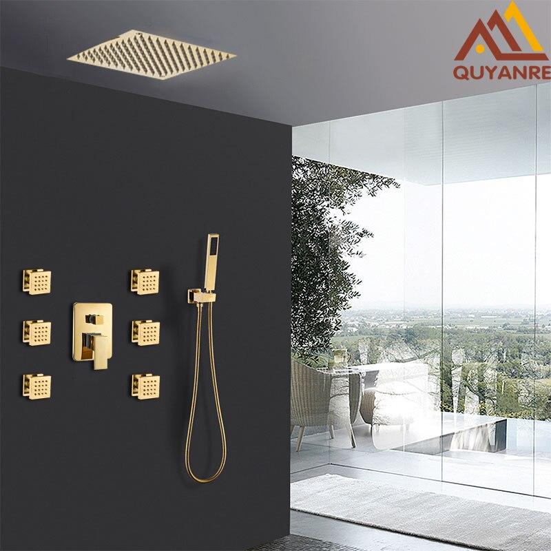 Quyanre Golden Shower Faucets Set Gold Ultrathin Shower Head 6pcs Massage SPA Jets Shower 3 way
