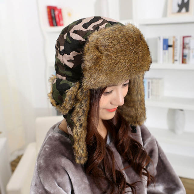placeholder HT1379 Unisex Winter Warm Bomber Hats Men Women Russian Ushanka  Caps Classic Camouflage Faux Fur Trapper ca8c8f163145