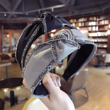 2019 Fashion Summer Womens Hairband High Quality Turban Shining Rhinestone Headwear Adult Women Hair Accessories Wholesale