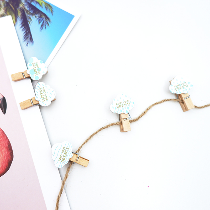 10 Pcs/lot Kawaii Cute Cloud Weather Wooden Clip Photo Craft Clips Party Decoration Clip With Hemp Rope Party Supplies