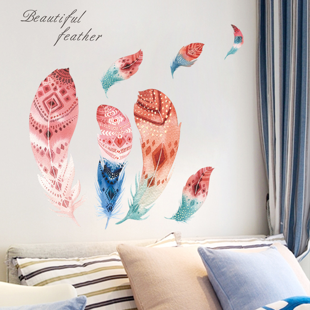 Colourful 3d vivid feather butterfly birds flower wall stickers home decoration living room pvc wall decals diy mural art postet