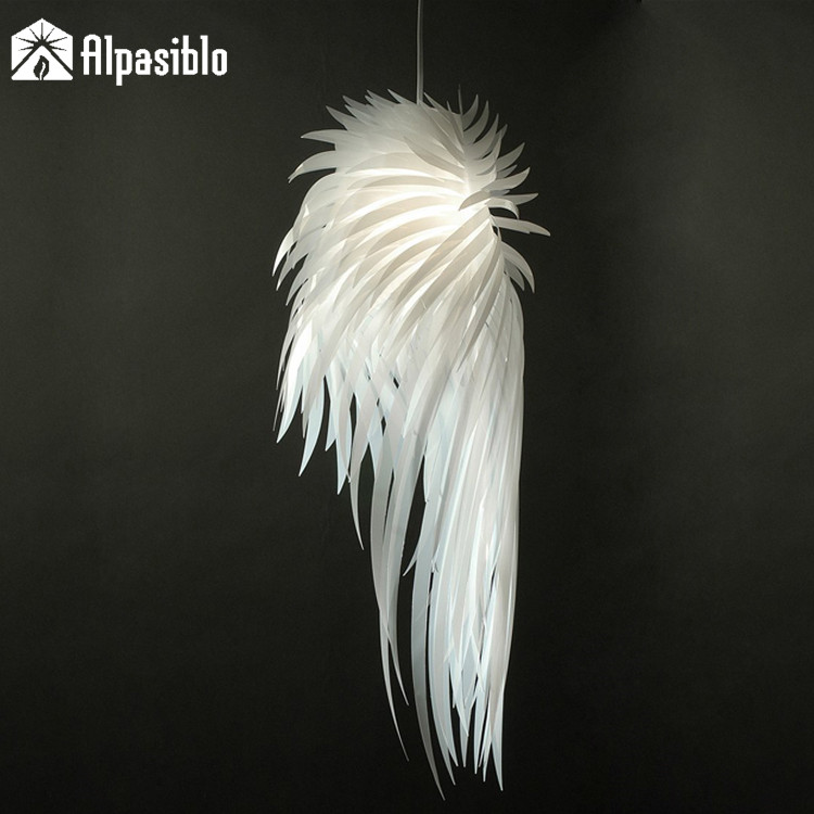 Modern Color Angel wing feather Pendant Light E27 Holder PVC Material Store Art Deco Single Head Dining-room Pendant Lamp