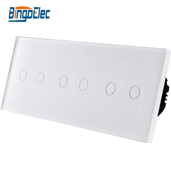 ФОТО EU type switch, 6gang touch wall light smart switch, Free combination, AC110-250V Free shipping