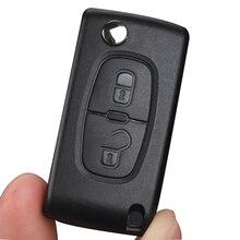 2/3 кнопка автомобиля дистанционного Управление ключ оболочки черный складной ключ Корпус костюм для peugeot 307 308 407 408/Citroen Triumph sega C4l C5