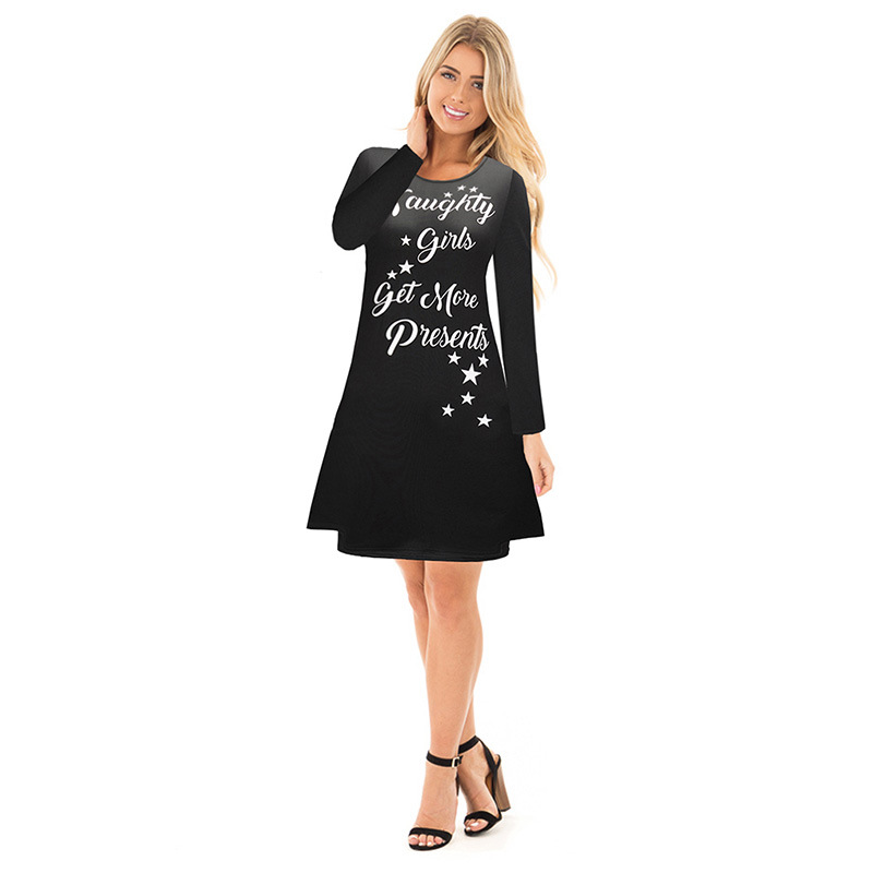 mamaan style Christmas cartoon casual new dresses spring long sleeve a-line knee length o-neck female