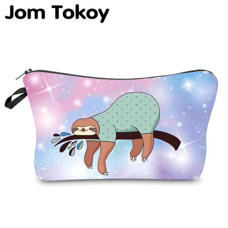 Jom Tokoy Water Resistant Makeup Bag Printing Sloth Cosmetic Bag Lovely Cosmetic Organizer Bag Women Multifunction Beauty Bag 40