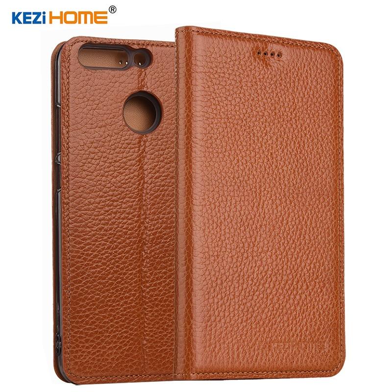 imágenes para KEZiHOME para Huawei honor 8 pro Flip cuero genuino posterior de silicona suave para Huawei honor cubierta de V9