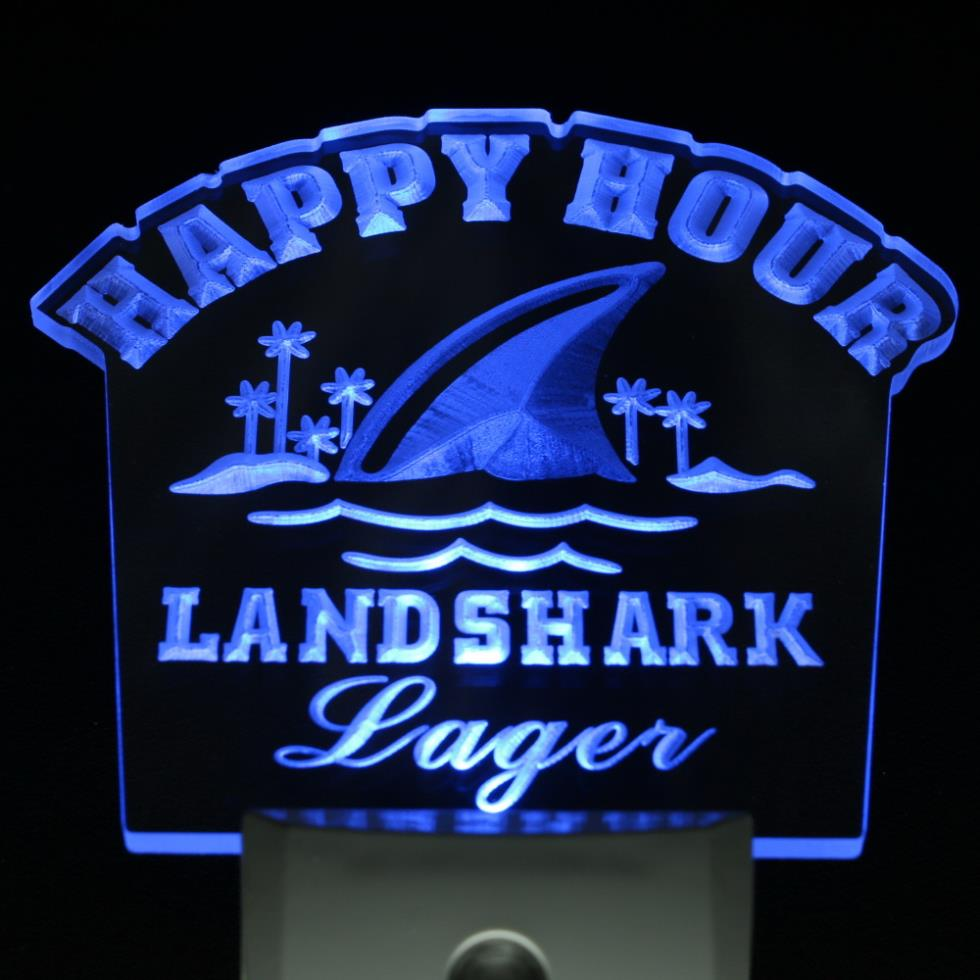 ws0020 Landshark Lager Beer Happy Hour Bar Day/ Night Sensor Led Night Light Sign