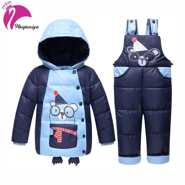 841ba18ae87cd Hiver Vers Le Bas Enfants Vêtements Set Nouveau Marque De Mode de Caractère  À Capuche Parka