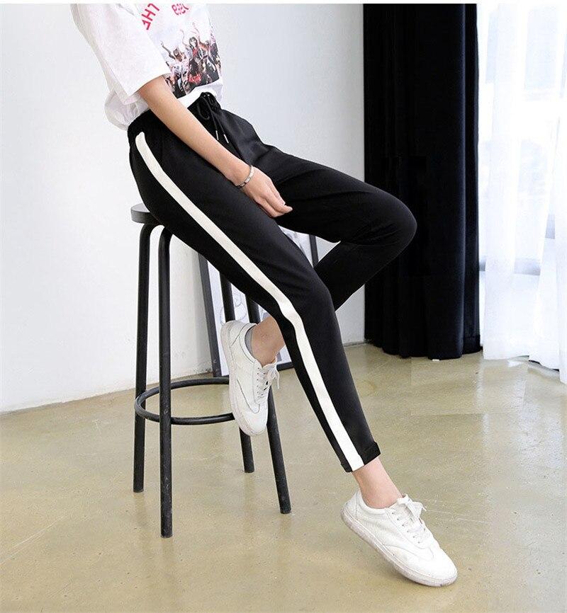 Donne Pantaloni stile harem Dentelle Up Pantaloni Casual Allentato Elastico Dei Pantaloni Femminili