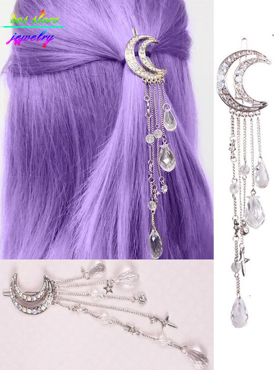 4 Colors Sweet Japanese Style Crystal Moon Statement